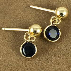 Blue Faceted Sapphires 4MM Dangle Stud Earrings